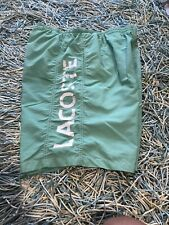 """Lacoste Swim Trunks Shorts Green Mens Medium (32-34) Pocket Lined 8 1/2"""" Inseam"""