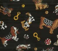 Tossed funny cute dogs on black Timeless Treasures fabric