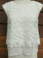 Rirandture Flower Embroidered Layered Lace White Peephole Metal Button Blouse 1
