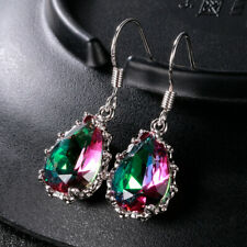 Gorgeous 925 Silver Jewelry Drop Earrings for Women Mystic Topaz A Pair/set