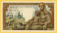 FRANCE 1000  FRANCS DEESSE DEMETER 1943 P#102 UNC NO PIN HOLES LARGE SIZE NOTE