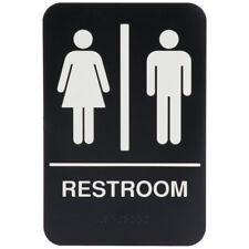 Rock Ridge Unisex Restroom Sign Black/White - ADA Compliant New