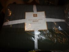 Pottery Barn Teen Rugby Stripe Quilt, Full/Queen, Moss Green/Grey issue cuts