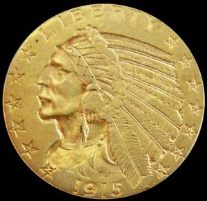 1915 P GOLD UNITED STATES $5 DOLLAR INDIAN HEAD HALF EAGLE COIN