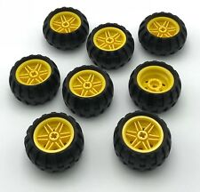 LEGO LOT OF 8 NEW YELLOW SPOKED HUBS WITH BLACK RUBBER TIRES PIECES