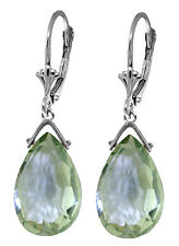 10.2 Carat Silver Leverback Earrings Briolette Green Amethyst
