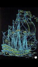 Vintage flocked original Ship blacklight poster  Rare