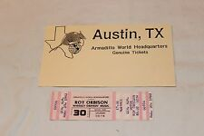 Roy Orbison Unused Concert Ticket and Company Ad-Armadillo World Headquarters