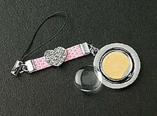 New Pink Leather Strap Crystals Heart Round Photo Cell Phone Charm Free Shipping