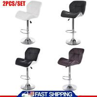 Set of 2 Bar Stools Pub Kitchen Chair Counter Height PU Leather Swivel Dining