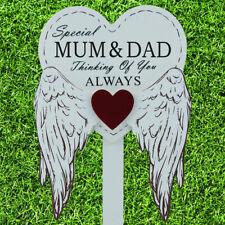 Special Mum & Dad Graveside Memorial Angel WIngs Tribute Grave Stick Marker