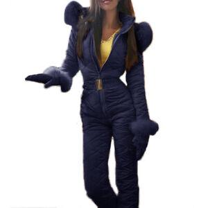 Women Mountain Skiing Jumpsuit Thicken Ski Jacket Snowboard Pant Plus Size