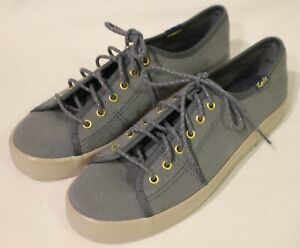KEDS ~ Grey Canvas Lace Up Sneakers w Gold Eyelets Metallic Laces US 6 EU 36 new