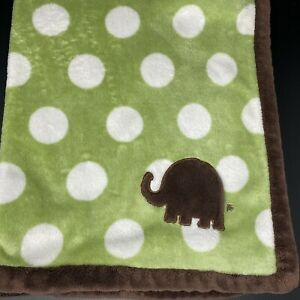 Carters Green White Dots Circles Baby Blanket Brown Elephant Trim Security Lovey