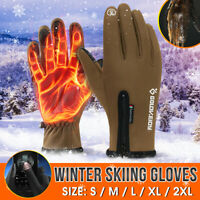Touch Screen Gloves Zipper Thermal Winter Sports Skiing Warm Mittens Waterproof