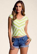 NWT bebe green white contrast striped double neck sexy dress mini top M medium