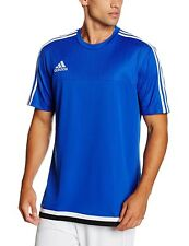 Men's New Adidas Tiro T-Shirt Top - Fitness Gym Training Soccer Football - Blue