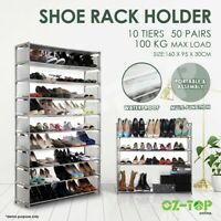 Shoe Rack Cabinet Wardrobe Storage Organiser Shelf Stand Holder 10 Tier 50 Pairs