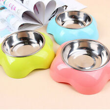 Puppy Pet Dog Bowl Stainless Steel+Plastic Food Feeding Drink Water Dish Bowl 1X