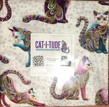"Cat I Tude (42) 10"" square layer cakes 100% Cotton Benartex"