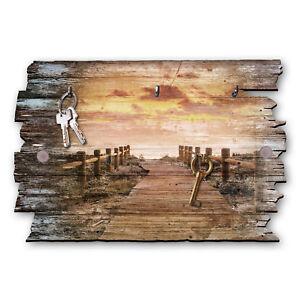 Holzsteg Schlüsselbrett Hakenleiste Landhaus Shabby chic aus Holz 30x20cm