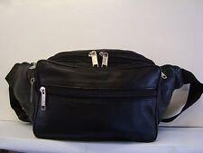 Soft Leather Bum Bag Seven Zipped Pocket Large Size  Black