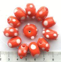 12 x red / white, spotty, bumpy, lampwork glass beads,  43 gms   15