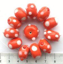 12 x Rouge/blanc, pois, bosselée, Lampwork Perles en verre, 43 GMS 15