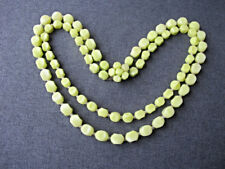 Vintage greenish yellow plastic beads flower clasp 2 strands necklace W Germany
