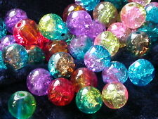 50 Glasperlen Crackle Farb Mix 8mm Perlen Schmuck Basteln