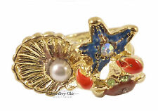 Gold Sea Animal Nautical Clam Shell Coral Star Fish Lobster Crab Jewellery Ring