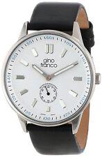 Gino Franco Men'sAnalog Quartz Round Stainless Steel Genuine Leather Strap Watch