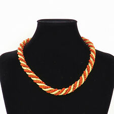 """NYJEWEL 18k Yellow Gold Large Italy Ox Blood Coral 9.5mm wide Rope Necklace 17"""""""