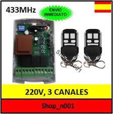RECEPTOR 2 CANALES 220V 433MHz + MANDOS PUERTA GARAJE ENROLLABLES 220 V  (A1T1)