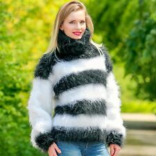 Black white striped sweater hand knitted mohair jumper fuzzy warm top SUPERTANYA