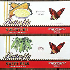 2 Vintage Original Old BUTTERFLY VEGETABLE CAN Labels 1920s NOS Unused Pea