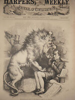 1875 Harper's Weekly Nast August 14 The People want the shipping bill, but no...