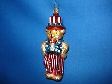 Bear Ornament Glass Patriotic Old World Christmas 11421 19