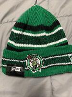 NBA New Era Boston Celtics Cuffed Striped Winter Beanie Hat Cap NWT