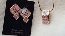 pink opal and cubic zirconia earrings and necklace, set in rose gold, NEW