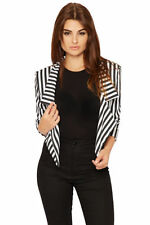 Polyester Blazer Striped Coats & Jackets for Women