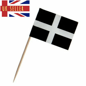 10-300 Cornwall Flag Cornish Pasty Topper Cocktail Stick Tooth Picks Food Party