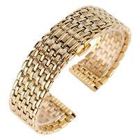18/20/22mm Fashion Yellow Gold Watch Band Wrist Strap Stainless Steel Bracelet