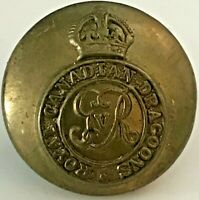 Royal Canadian Dragoons w/ King's Crown Brass Military Uniform Button 19 mm