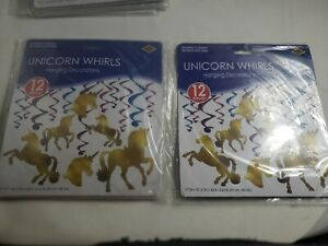 Set of 2, 12 Unicorn Hanging Whirls  total of 24 New