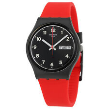 Swatch Red Grin Black Dial Red Silicone Ladies Casual Watch GB754