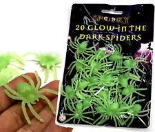 20 GLOW IN THE DARK SPIDERS 5cm HALLOWEEN DECORATION KIDS TOYS PARTY BAG FILLERS