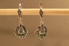 Elegant Emerald Marcasite Sterling Silver Dangle Omega Earrings