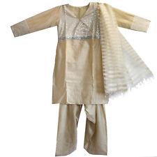 Salwar Kameez Kleid Hose Schal  36 38 M Bollywood Sari Kostüm Indien Creme Beige