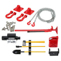 RC Crawler 1/10 Fuel Tank Winch Jack Tools Kit with Tow Hook Chain for RC4WD